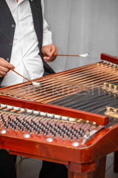 Enstrüman adam oynama ahşap müzik ahşap Stok fotoğraf © grafvision