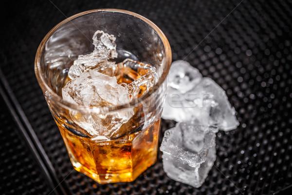 Szkła whisky lodu bar Licznik pić Zdjęcia stock © grafvision