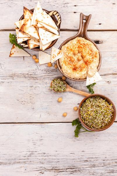 Hummus, mashed chickpeas Stock photo © grafvision