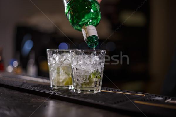 Barman preparing mojito cocktail Stock photo © grafvision