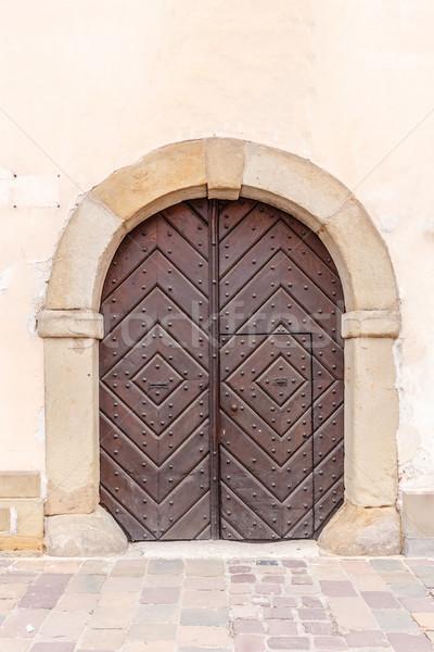 древесины арки дверной проем дома здании Церкви Сток-фото © grafvision