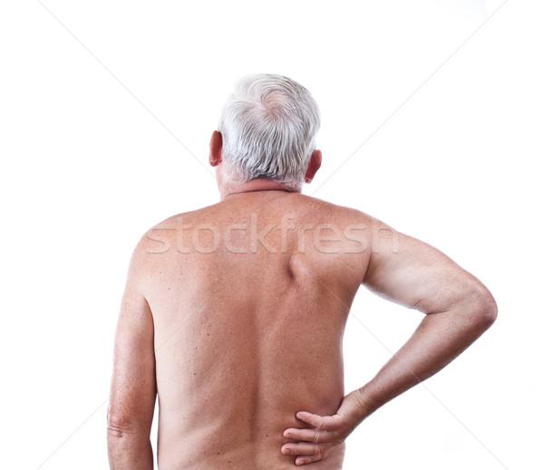 Uomo mal di schiena senior isolato bianco mano Foto d'archivio © grafvision