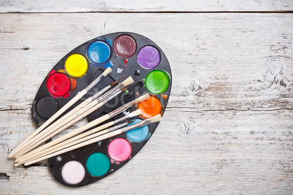 Watercolors and brushes Stock photo © grafvision