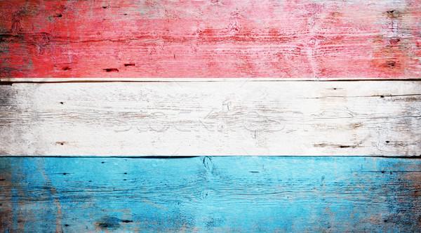 Vlag Luxemburg geschilderd hout plank Stockfoto © grafvision