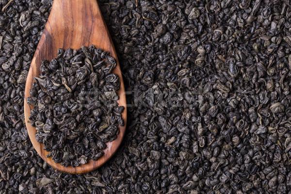Foto stock: Té · cuchara · de · madera · hojas · beber · negro · Asia