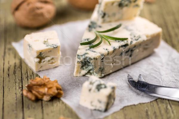 Formaggio tipo gorgonzola legno legno sfondo formaggio dado Foto d'archivio © grafvision