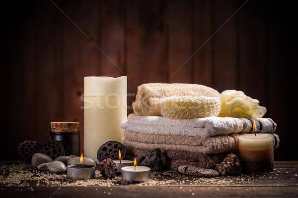Spa ancora vita aromatico candela asciugamano fiore Foto d'archivio © grafvision