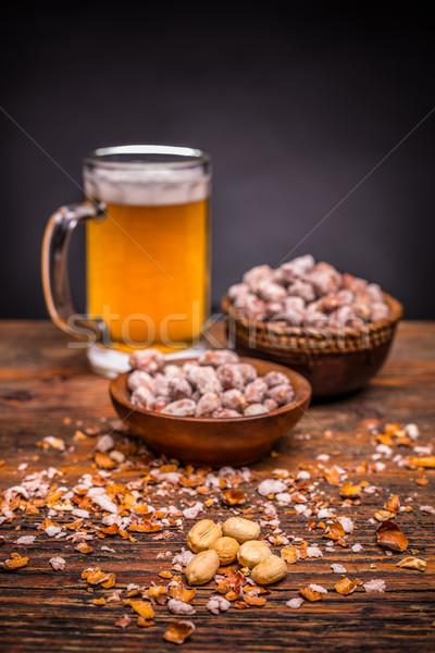 пива арахис алкоголя семени гайка Сток-фото © grafvision