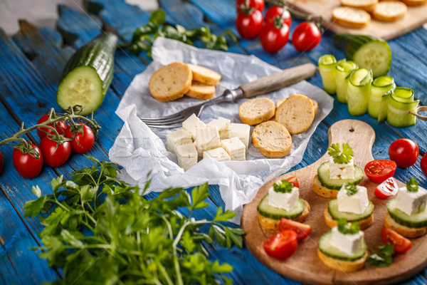 Stock photo: Sandwiches with feta cheese