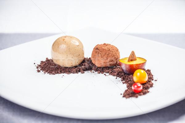 Gurmé felszolgált friss gyümölcsök tej cukorka Stock fotó © grafvision