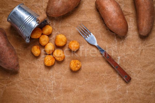 Patata dolce formaggio carta marrone alimentare party Foto d'archivio © grafvision