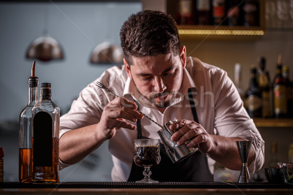 Bartender decorated coffee cocktail Stock photo © grafvision