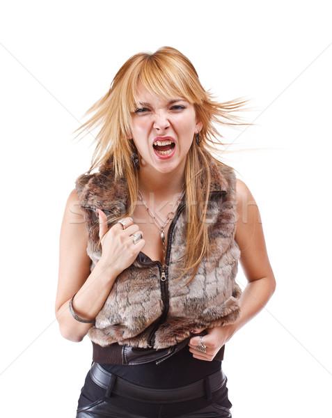 Wildly screaming woman Stock photo © grafvision