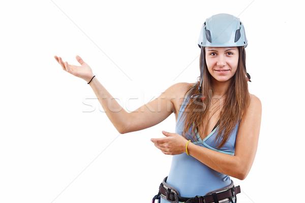 Woman in climbing helmet Stock photo © grafvision