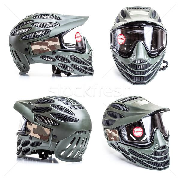 Paintball máscara blanco grupo juego casco Foto stock © grafvision