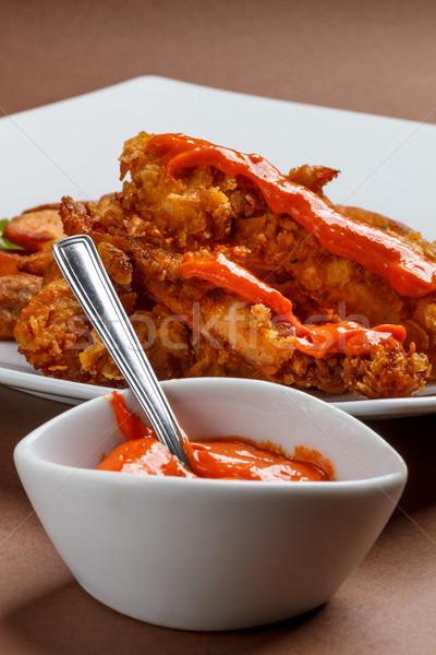 Crujiente pollo chile salsa Foto stock © grafvision