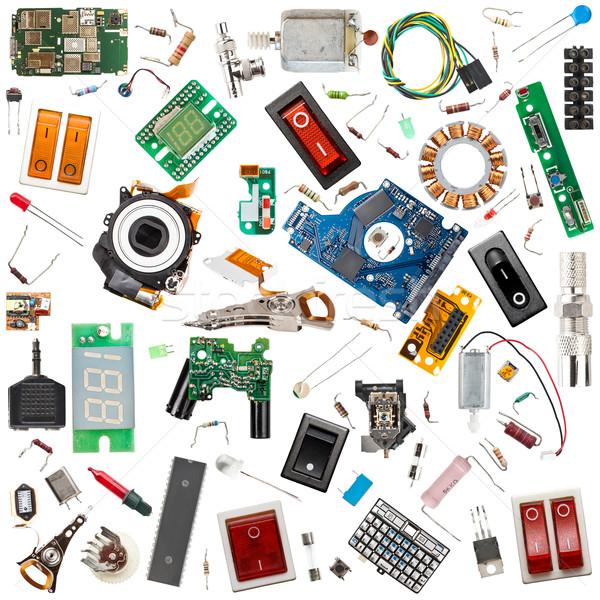 Eletrônico componentes coleção isolado branco computador Foto stock © grafvision