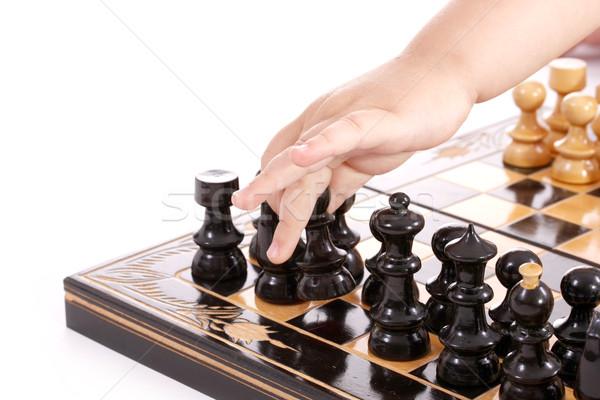 Crianças jogar xadrez mão isolado branco Foto stock © grafvision
