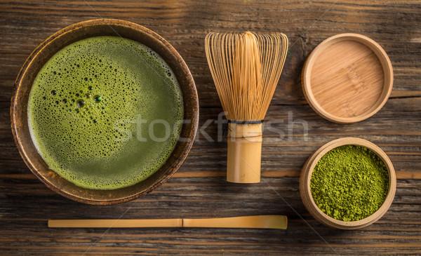 зеленый чай Top мнение чаши поверхность Сток-фото © grafvision
