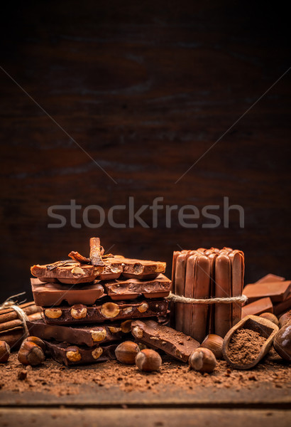Stack of chocolate pieces Stock photo © grafvision