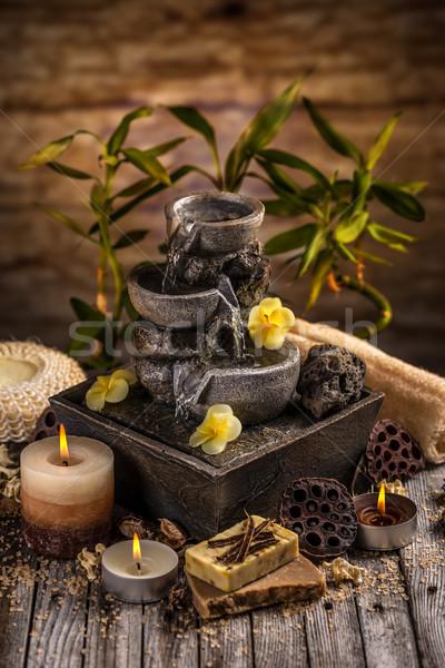 Fürdő csendélet aromás gyertyák víz szökőkút Stock fotó © grafvision