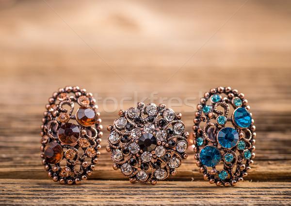 Közelkép gyűrűk kicsi üveg kövek fém Stock fotó © grafvision