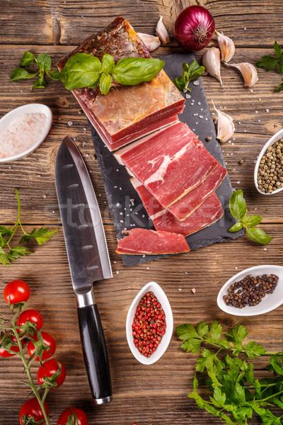 Szelet prosciutto gyógynövények fűszer étel levél Stock fotó © grafvision