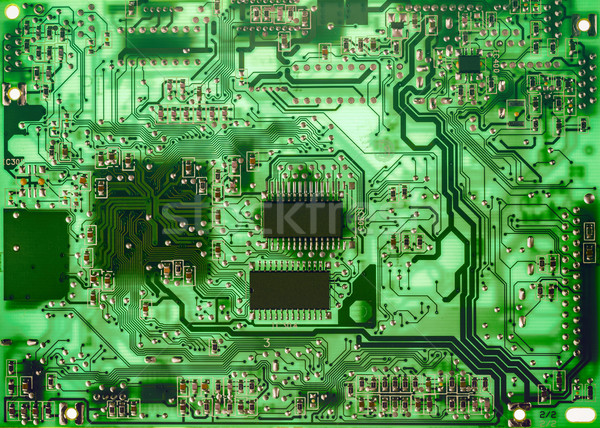 Számítógép nyáklap közelkép nyomtatott zöld háttér Stock fotó © grafvision