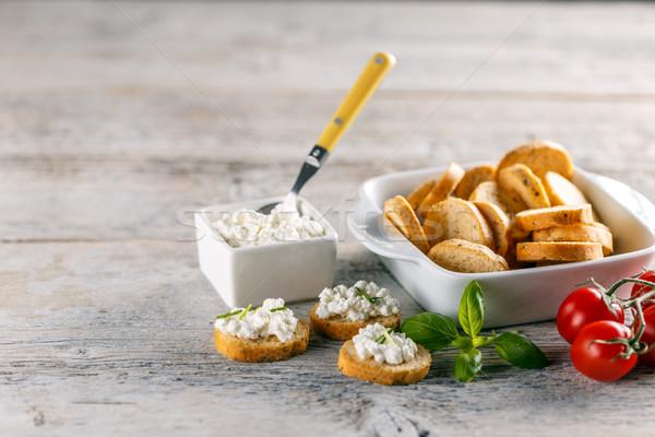Pan tostado aperitivos requesón dedo frescos Foto stock © grafvision