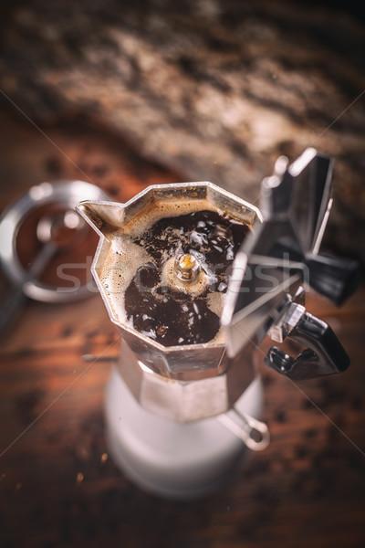 Café expresso pote café beber retro quente Foto stock © grafvision