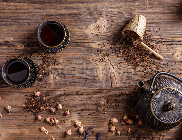 Teiera top view tradizionale orientale legno Foto d'archivio © grafvision
