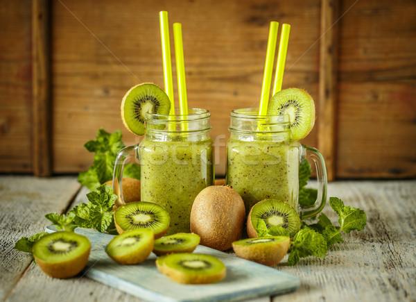 健康 グリーンスムージー キウイ 木製のテーブル 背景 表 ストックフォト © grafvision