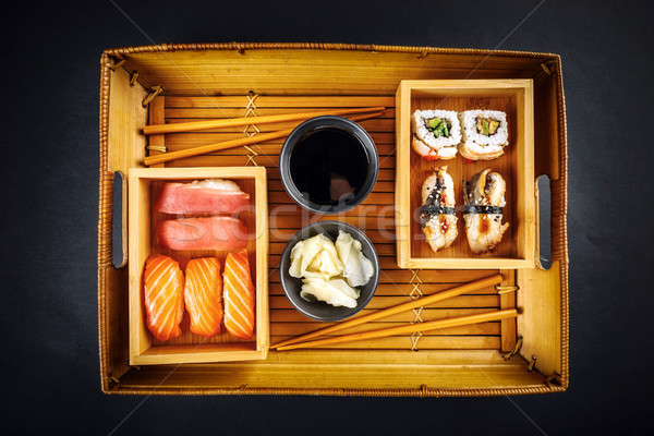 Sushi sashimi üst görmek avokado Stok fotoğraf © grafvision