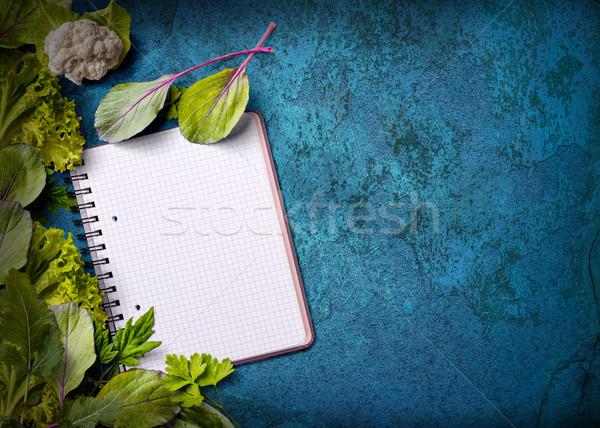 Nyitva recept könyv friss gyógynövények koszos Stock fotó © grafvision