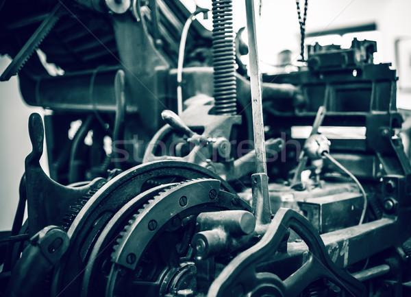 öreg sajtó nyomtatás gép közelkép munka Stock fotó © grafvision