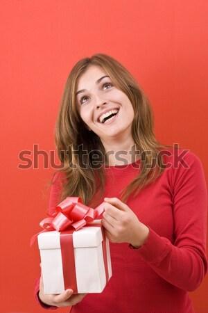 Femeie sexy pălărie uimit Crăciun Cadouri Imagine de stoc © grafvision