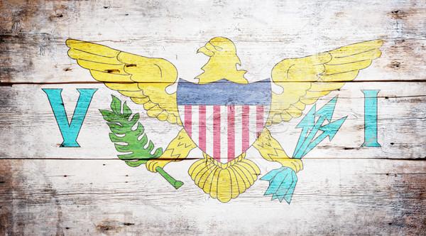 Vlag Verenigde Staten Virgin Islands geschilderd hout Stockfoto © grafvision