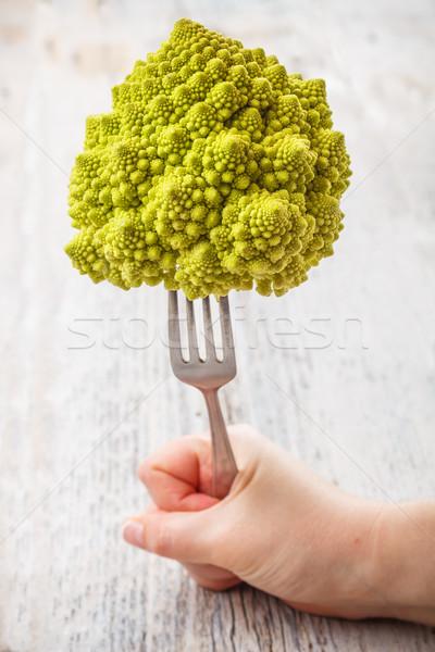 Karfiol friss zöld rusztikus fa asztal étel Stock fotó © grafvision