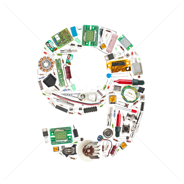 Number '9' made of electronic components Stock photo © grafvision