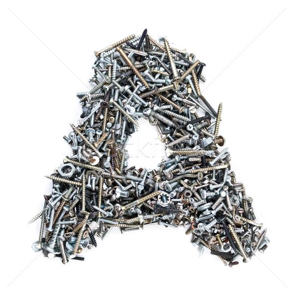 Foto stock: Alfabeto · carta · isolado · branco · construção · ferramentas