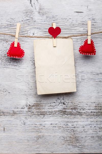 Stockfoto: Rood · handgemaakt · harten · blanco · papier · kaart · witte