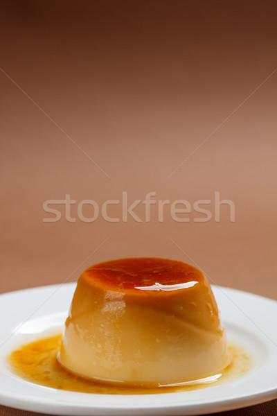 Foto stock: Caramelo · creme · branco · prato · cozinhar · sobremesa