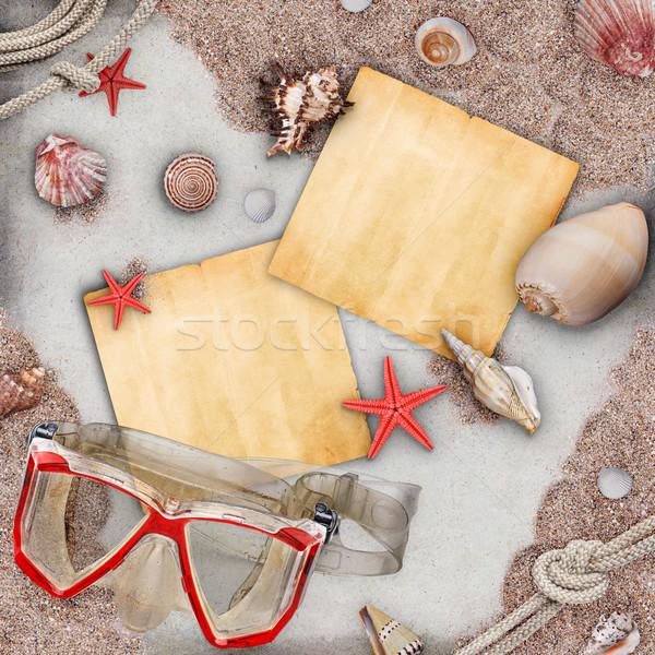 Wiadomość plaży przestrzeni papieru projektu tle Zdjęcia stock © grafvision