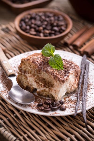 Tiramisu desszert kávébab menta kávé tej Stock fotó © grafvision