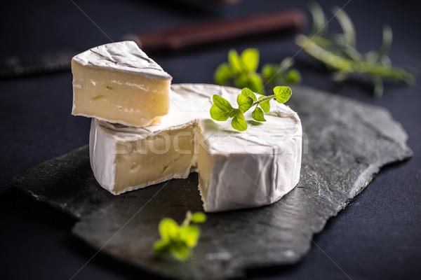 Queijo camembert queijo escuro fundo preto branco Foto stock © grafvision