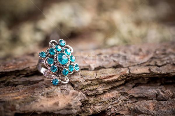 Gyűrű kövek gyönyörű kicsi kék üveg Stock fotó © grafvision