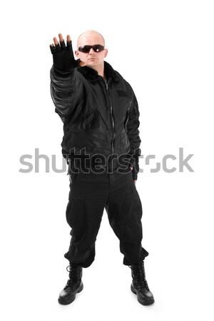 ストックフォト: 男 · 黒人男性 · 黒服 · 太陽 · 眼鏡 · 孤立した