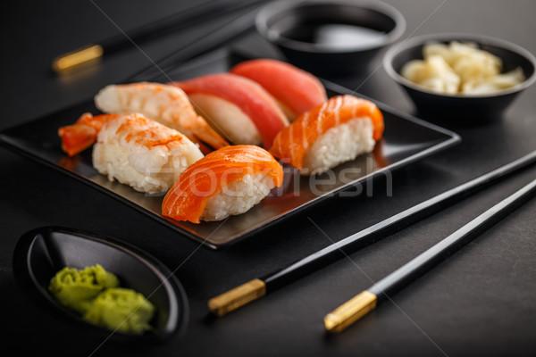 Sashimi sushis soja gingembre alimentaire Photo stock © grafvision