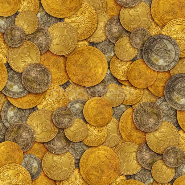 старые Золотые монеты текстуры деньги фон металл Сток-фото © grafvision