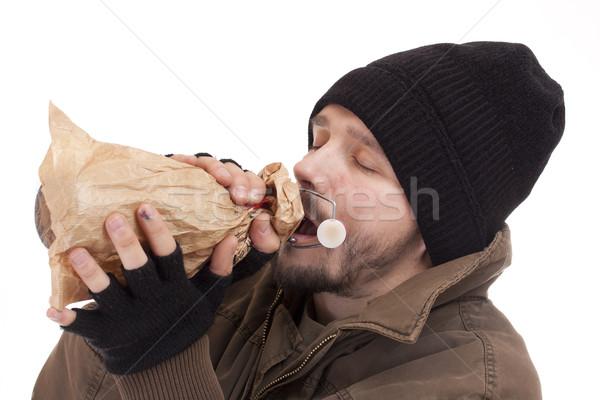 Hajléktalan férfi tart üveg alkohol gyógyszer Stock fotó © grafvision